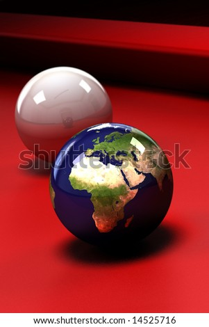 Earth (showing Europe and Africa) in the form of a pool ball on a red pool table - shallow depth of field - stock photo