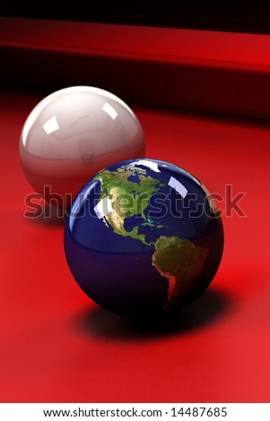 Earth (showing North, Central and South America) in the form of a pool ball on a red pool table - shallow depth of field - stock photo