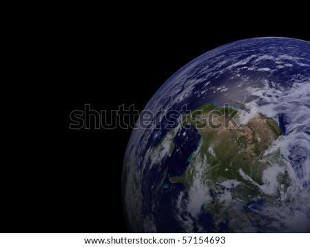Earth shown on black canvas, focus on North America. - stock photo