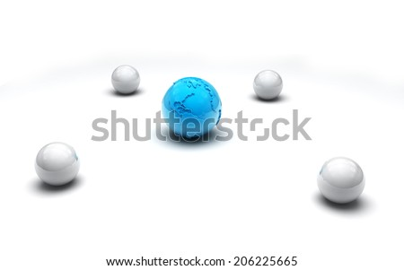 Earth sign surrounded by white balls - stock photo