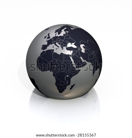 Earth - silver globe with focus on Europe and Africa