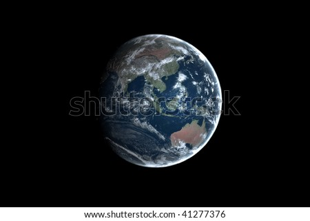 Earth sitting alone in space - stock photo