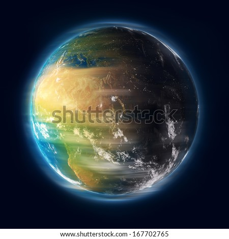 Earth spinning in outer space. Elements of this image furnished by NASA - stock photo