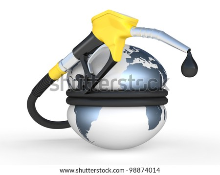 Earth squeezed and fuel pump nozzle with drop oil. 3D illustration on a white