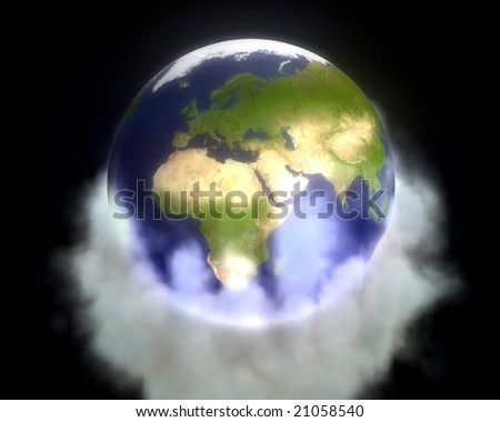 Earth struggling from greenhouse gases. For other similar images from the series, please, check my portfolio. - stock photo