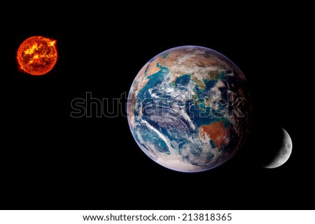 Earth Sun Moon lunar eclipse space background. Elements of this image furnished by NASA. - stock photo