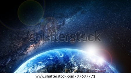Earth Sunrise and Milky Way Illustration. First Sun Lights. Space Illustrations Collection. - stock photo