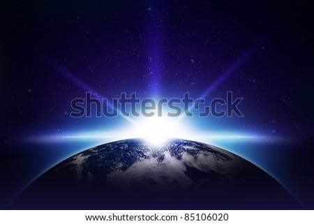 Earth Sunrise Illustration. Cool Sunrise Illustration. Earth and the Sun. Center Sunrise. Space Illustrations Collection - stock photo