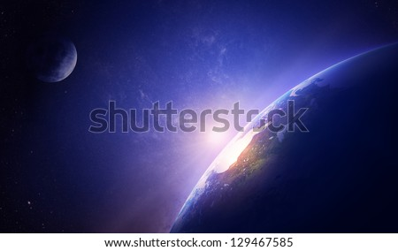 Earth sunrise in foggy space over North America (Elements of this image furnished by NASA- moonmap / earthmap for render  from http://visibleearth.nasa.gov) - stock photo