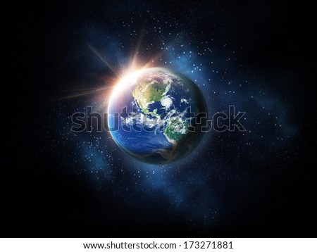 earth sunrise in space. Elements of this image furnished by NASA.