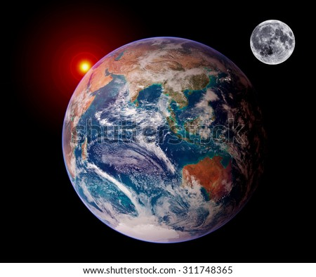 Earth sunrise isolated moon planet astrology astronomy space. Elements of this image furnished by NASA. - stock photo