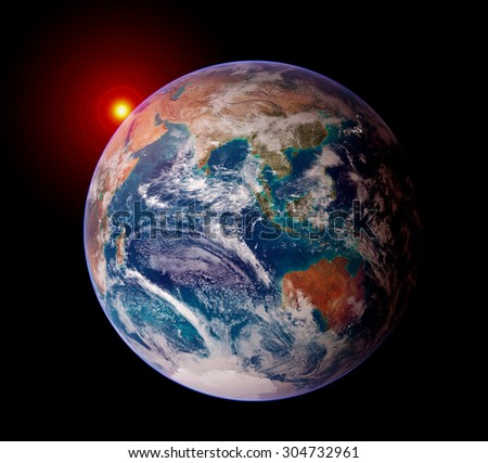 Earth sunrise isolated solar system planet astrology astronomy space. Elements of this image furnished by NASA.