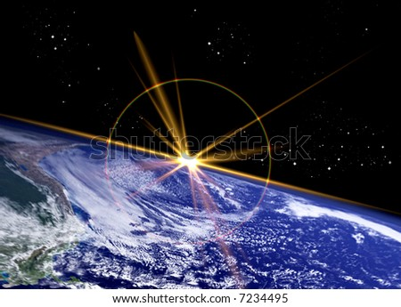 Earth surface on Star studded background - stock photo