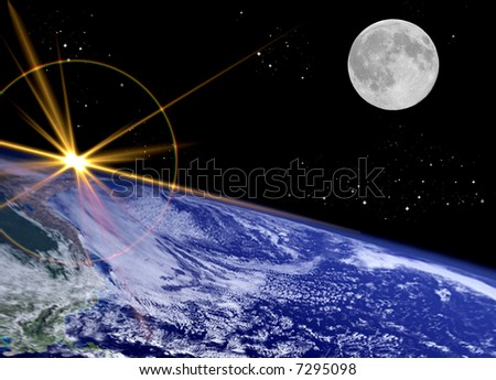 Earth Surface with Starburst and Moon - stock photo