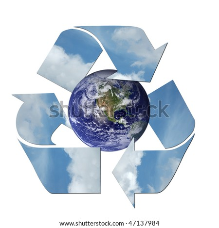 Earth surrounded by a recycle sign.