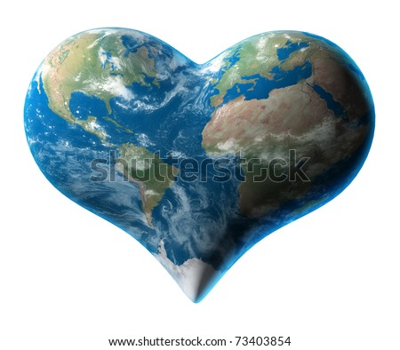 Earth to heart symbol - stock photo