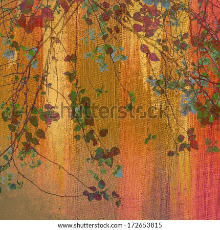 Earth tone painting with treetop - stock photo