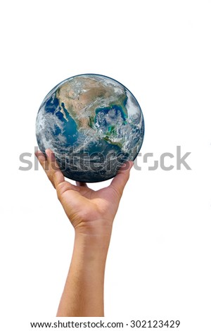 earth towering right hand on isolated background. Elements of this image furnished by NASA - stock photo