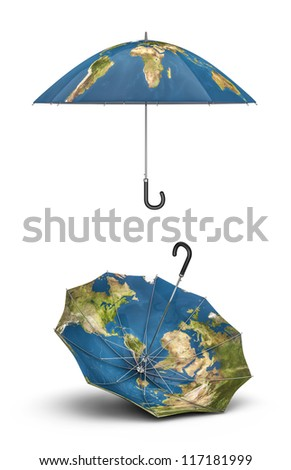 Earth umbrellas 3D render of umbrellas with map of planet Earth, Earth map texture source: cinema4dtutorial.net - stock photo