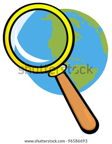 Earth Under Magnifying Glass - stock photo