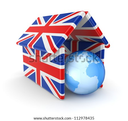 Earth under the roof made of british flags.Isolated on white background.3d rendered. - stock photo