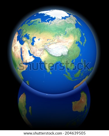 Earth view from orbit, asia, 3d rendering on black reflecting background