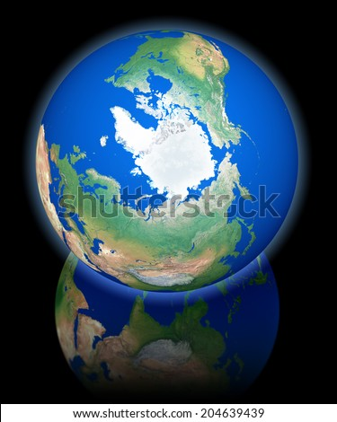 Earth view from orbit, north pole, 3d rendering on black reflecting background - stock photo