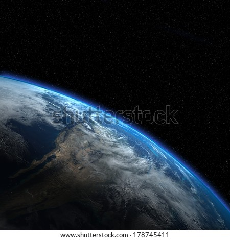 "Earth view from outer space. ""Elements of this image furnished by NASA""  - stock photo"