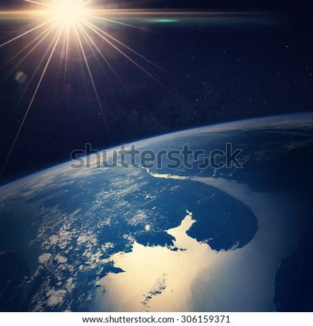 Earth view from space (Elements of this image furnished by NASA) - stock photo
