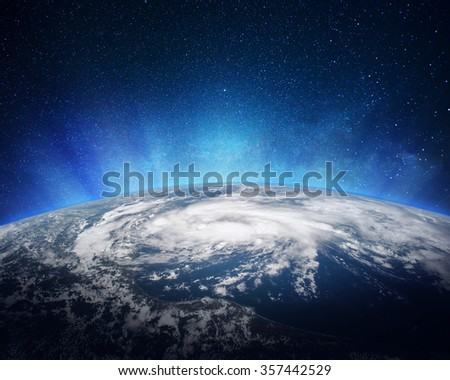 Earth viewed from outer space. Elements of this image furnished by NASA. - stock photo