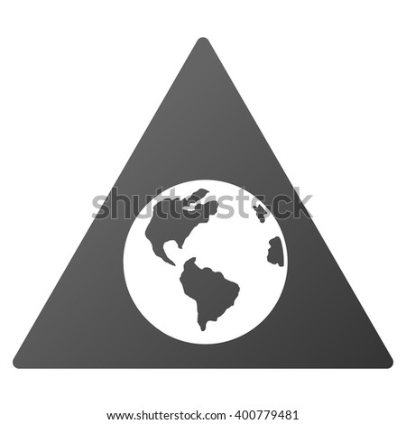 Earth Warning glyph toolbar icon for software design. Style is a gradient icon symbol on a white background.