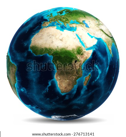 Earth white isolated. Elements of this image furnished by NASA - stock photo