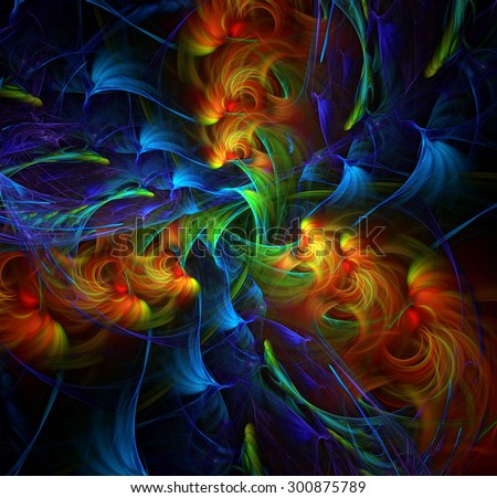 Earth, Wind, Water and Fire abstract illustration - stock photo