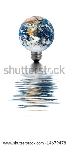 Earth with a light bulb base, reflecting in water - stock photo