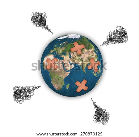 Earth with adhesive plaster isolated on white background, Element of this image are furnished by NASA - stock photo