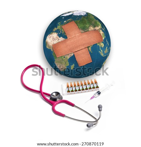 Earth with adhesive plaster with syringe and stethoscope isolated on white background, Element of this image are furnished by NASA - stock photo