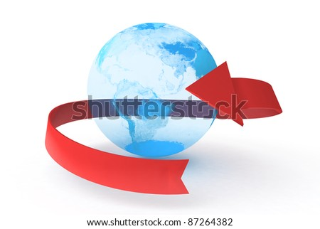 Earth with arrow on white background - stock photo