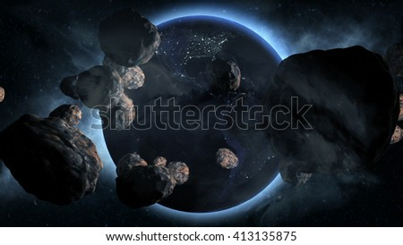 Earth With Asteroids