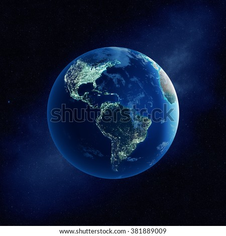 Earth with city lights at night in outer space with North and South America  (Elements of this  3D rendered image furnished by NASA)