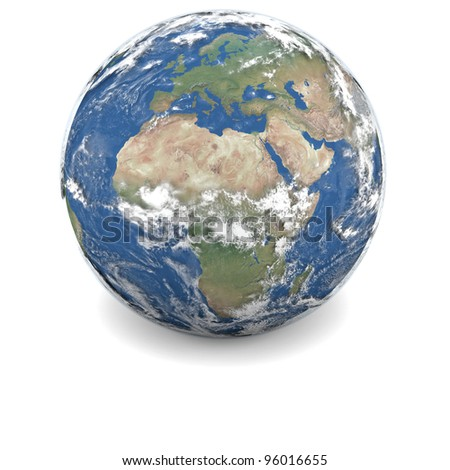 Earth with clouds and atmosphere isolated on white background - stock photo
