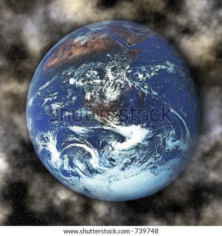 earth with cluds and stars surrounding - stock photo