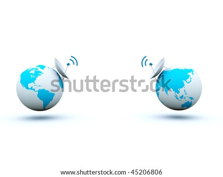 Earth with dish isolated on white - stock photo