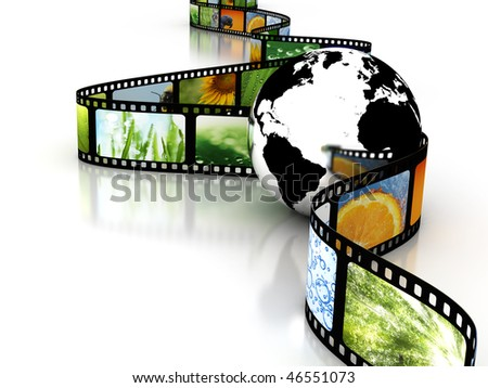 Earth with film - stock photo