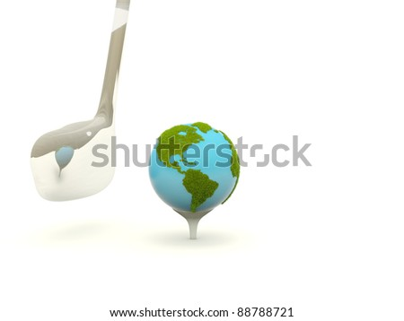 Earth with golf club isolated on white - stock photo