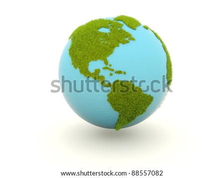 Earth with grass isolated on white