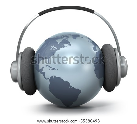 Earth with headphones, World music