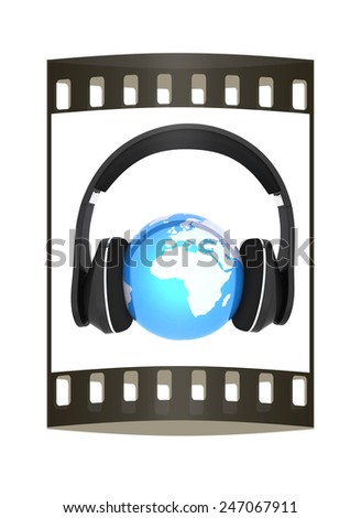 earth with headphones. World music concept isolated on white  - stock photo