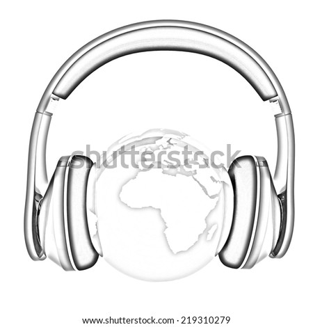 earth with headphones. World music concept isolated on white. Pencil drawing  - stock photo