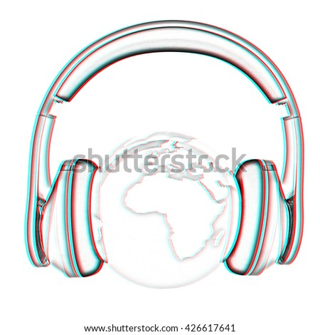 earth with headphones. World music concept isolated on white . Pencil drawing. 3D illustration. Anaglyph. View with red/cyan glasses to see in 3D.
