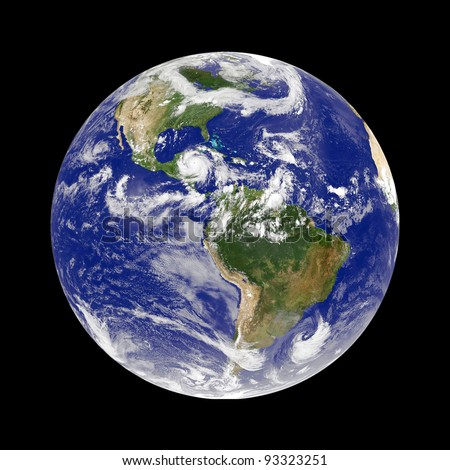 earth with hurricane - stock photo